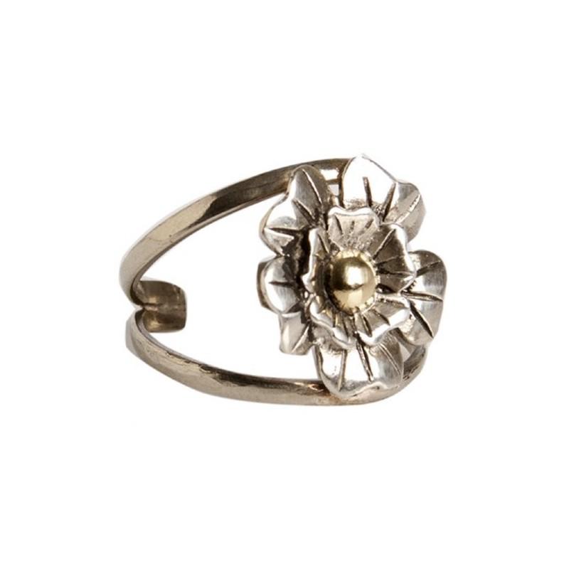 Anillo Flor de Plata y Oro