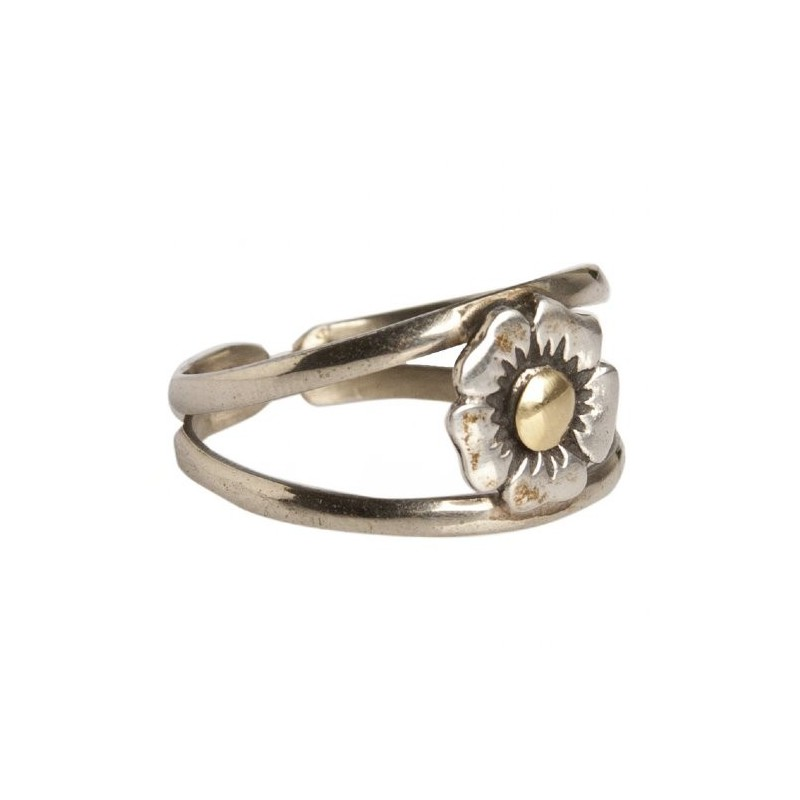 Anillo Flor de Pensamiento de Plata y Oro