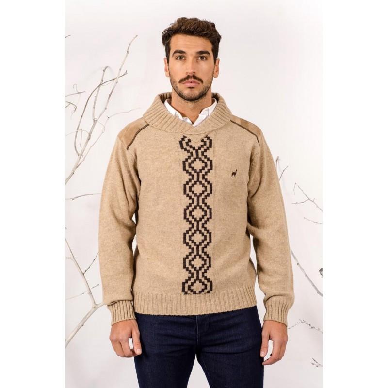 Sweater Cuello Smoking con Guarda Pampa Color Beige