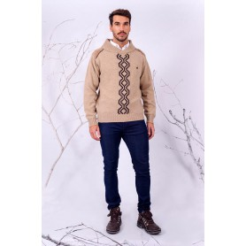 Sweater Cuello Smoking con Guarda Pampa Color Beige